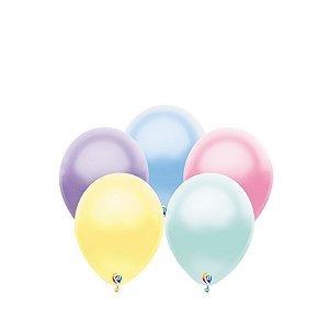 Balão de Festa Látex - Sortido Pastel Cintilante - Sensacional - Rizzo Embalagens