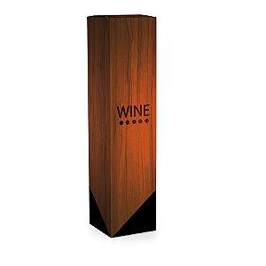 Caixa para Garrafa de Vinho 8x8x33cm - Estampa Madeira Wine - 10 unidades - Cromus - Rizzo Embalagens