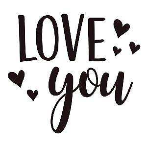 Transfer Para Balão Lettering Preto - Love You Coração - 01 Unidade - Cromus Balloons - Rizzo Embalagens