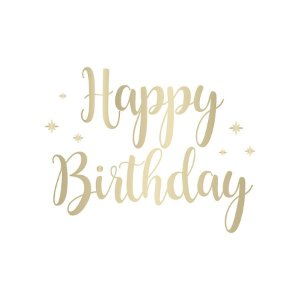 Transfer Para Balão Lettering Ouro - Happy Birthday Estrela - 01 Unidade - Cromus Balloons - Rizzo Embalagens