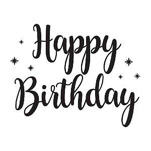 Transfer Para Balão Lettering Preto - Happy Birthday Estrela - 01 Unidade - Cromus Balloons - Rizzo Embalagens