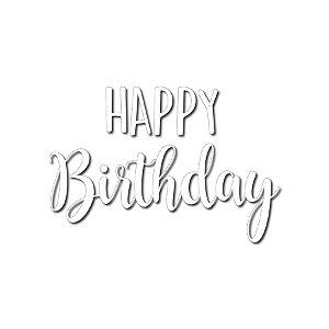 Transfer Para Balão Lettering Branco - Happy Birthday - 01 Unidade - Cromus Balloons - Rizzo Embalagens