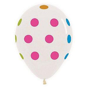 """Balão de Festa Decorado 12"""" 28cm - Cristal Bolinhas Neon - Sempertex - Rizzo Embalagens"""