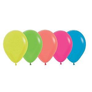 Balão de Festa Látex Neon - Sortido - 50 Unidades - Sempertex Cromus - Rizzo Balões