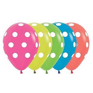 """Balão de Festa Decorado 12"""" 28cm - Neon Bolinhas Sortido - 12 Unidades - Sempertex - Rizzo Embalagens"""