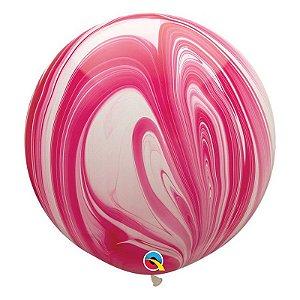 """Balão de Festa Látex Liso Superagate 30"""" 76cm - Vermelho e Branco - 01 Unidade - Qualatex - Rizzo Balões"""
