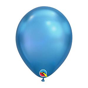 Balão de Festa Látex Liso Chrome - Azul - Qualatex - Rizzo Embalagens