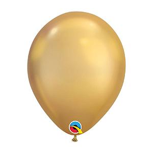 Balão de Festa Látex Liso Chrome - Ouro - Qualatex - Rizzo Embalagens