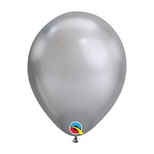 Balão de Festa Látex Liso Chrome - Prata - Qualatex - Rizzo Embalagens