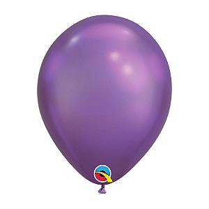 Balão de Festa Látex Liso Chrome - Roxo - Qualatex - Rizzo Embalagens