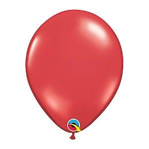 Balão de Festa Látex Liso Sólido - Vermelho Rubi - Qualatex - Rizzo Embalagens