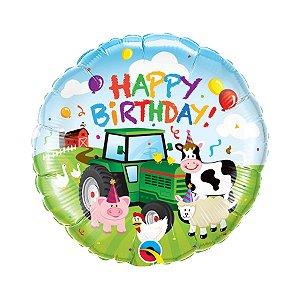 """Balão de Festa Microfoil 18"""" 45cm - Happy Birthday Fazendinha - 01 Unidade - Qualatex - Rizzo Embalagens"""