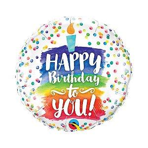 """Balão de Festa Microfoil 18"""" 45cm - Happy Birthday to You Colorido - 01 Unidade - Qualatex - Rizzo Embalagens"""