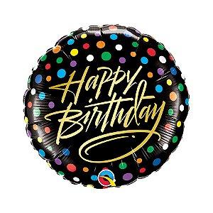 "Balão de Festa Microfoil 18"" 45cm - Happy Birthday Preto e Ouro - 01 Unidade - Qualatex - Rizzo Embalagens"