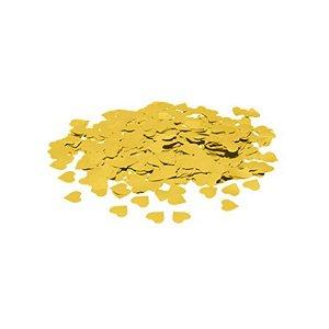 Confete Metálico Coração para Balão Pacote com 100g 1,5cm - Ouro - 01 Unidade - Cromus Balloons - Rizzo Embalagens