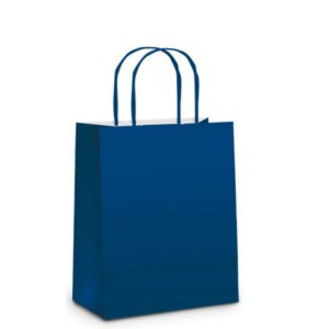 Sacola de Papel P Azul Instenso Fosco - 21,5x15x8cm  - 10 unidades - Cromus - Rizzo Embalagens