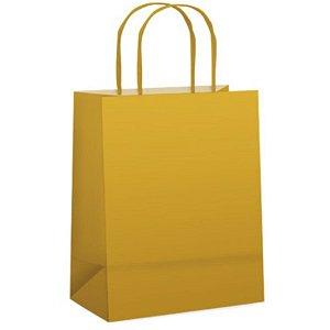 Sacola de Papel P Ouro Fosca - 21,5x15x8cm  - 10 unidades - Cromus - Rizzo Embalagens