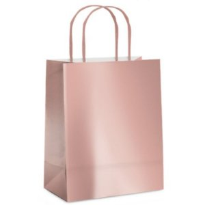 Sacola de Papel M  Rose Gold Metalizada - 26x19,5x9,5cm  - 10 unidades - Cromus - Rizzo Embalagens
