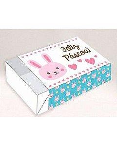 Caixa Divertida para 06 doces - Feliz Páscoa Coelhinho Rosa Ref. 335 - 10 unidades - Erika Melkot - Rizzo Embalagens