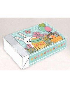 Caixa Divertida para 06 doces - Coelhinho Verde Ref. 337 - 10 unidades - Erika Melkot - Rizzo Embalagens