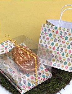 Kit Caixa Inclinada com Sacola - Ovos Coloridos - Ovos 350g ou 500g - Decora Doces Rizzo Embalagens