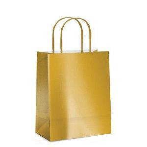 Sacola de Papel P Ouro Brilho - 21,5x15x8cm  - 10 unidades - Cromus - Rizzo Embalagens