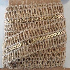 Fita Decorativa de Juta com Detalhe Dourado - 2 metros - ArtLille
