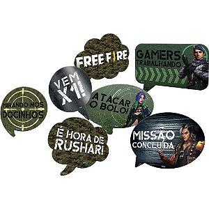Kit Placas Festa Free Fire - 09 Unidades - Festcolor - Rizzo Festas