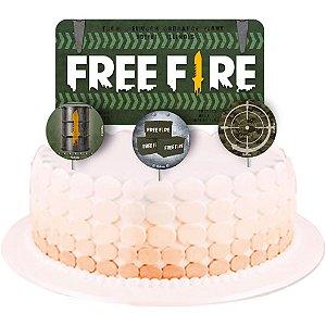 Topper para Bolo Festa Free Fire - 04 Unidades - Festcolor - Rizzo Festas