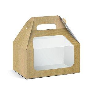 Caixa Maleta Kids com Visor Kraft M 12x12x8cm - 10 unidades - Cromus Páscoa - Rizzo Embalagens