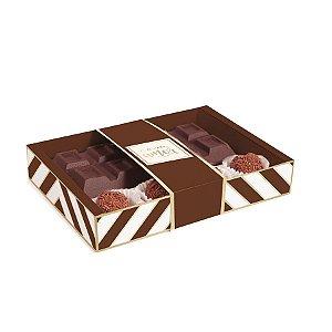Caixa para Tablete de Chocolate e Brigadeiros Chevron Marrom - 8x13x3,2cm - 10 unidades - Cromus - Rizzo Embalagens