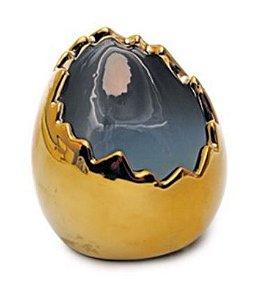 Casca de Ovo em Cerâmica Ouro 10x8x8cm - 01 unidade - Cromus Páscoa - Rizzo Embalagens