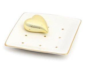 Prato em Cerâmica com Coração Ouro - 01 unidade - Cromus - Rizzo Embalagens