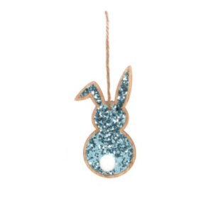 Tag de Coelho com Glitter Azul - 8cm x 3,5 cm x 1cm - Cromus Páscoa