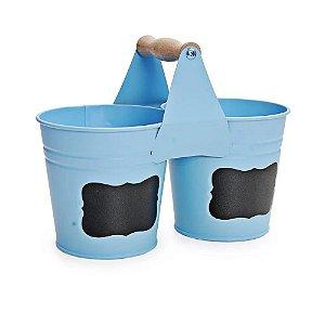 Balde Decorativo Azul Metal - 01 Unidade - Cromus - Rizzo Embalagens
