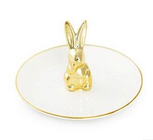 Prato Branco Coelho Ouro em Cerâmica - 01 unidade - Cromus Páscoa - Rizzo Embalagens