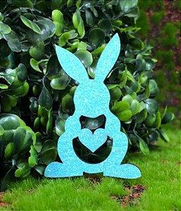 Aplique Coelhinhos em MDF Glitter Azul Claro - Sonho Fino - Rizzo Embalagens