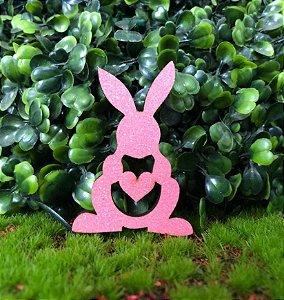 Aplique Coelhinhos em MDF Glitter Rosa Claro - Sonho Fino - Rizzo Embalagens