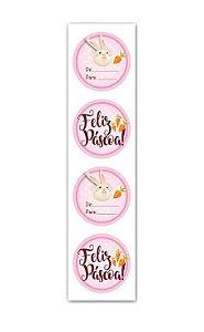 Adesivo Feliz Páscoa Rosa - 20 unidades - Miss Embalagens - Rizzo Embalagens