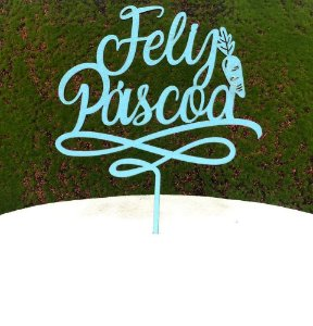 Topo de Bolo Feliz Páscoa Cenoura em MDF Glitter Azul Claro - Sonho Fino - Rizzo Embalagens