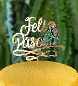 Topo de Bolo Feliz Páscoa Cenoura em Acrílico Metalizado Dourado - Sonho Fino - Rizzo Embalagens