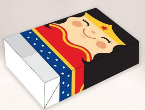 Caixa Divertida para 6 doces - Mulher Maravilha II Ref. 951 - 10 unidades - Erika Melkot - Rizzo Embalagens