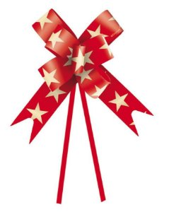 Laço Fácil Estrela Vermelha e Ouro - 10 unidades - Cromus - Rizzo Embalagens