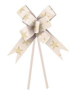 Laço Fácil Estrela Marfim e Ouro - 10 unidades - Cromus - Rizzo Embalagens