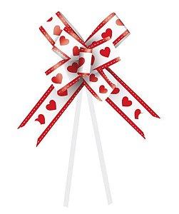 Laço Fácil Coração Branco e Vermelho - 10 unidades - Cromus - Rizzo Embalagens