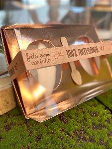 Caixa Ovo de Colher Duplo - Meio Ovo de 50g - 10cm x 10cm x 4cm - Rose Gold - 5unidades - Assk - Páscoa Rizzo Embalagens