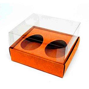 Caixa Ovo de Colher Duplo - Meio Ovo de 50g - 10cm x 10cm x 4cm - Laranja - 5unidades - Assk - Páscoa Rizzo Embalagens