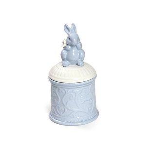Pote Cerâmica Detalhado Tampa Coelho Azul - 9x17cm - Cromus Páscoa - Rizzo Embalagens