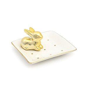 Prato em Cerâmica com Coelho Ouro 11x5cm - 01 unidade - Cromus - Rizzo Embalagens