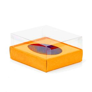 Caixa Ovo de Colher - Meio Ovo de 250g - 15cm x 13cm x 6,5cm - Laranja - 5unidades - Assk - Páscoa Rizzo Embalagens
